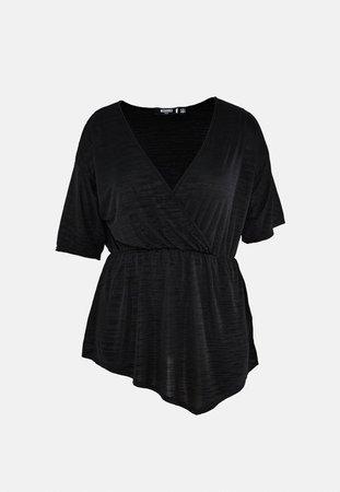 Plus Size Black Plisse Wrap Blouse   Missguided