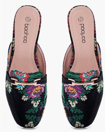 boohoo floral mule loafers