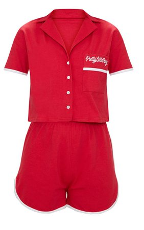 PRETTYLITTLETHING Red Embroidered Short Pj Set | PrettyLittleThing USA
