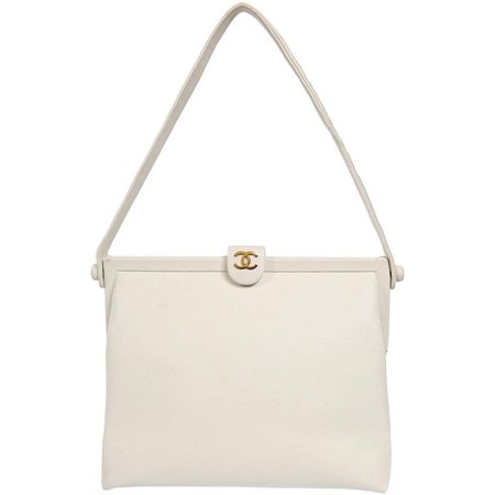 Chanel White Caviar Leather Vintage Shoulder Bag