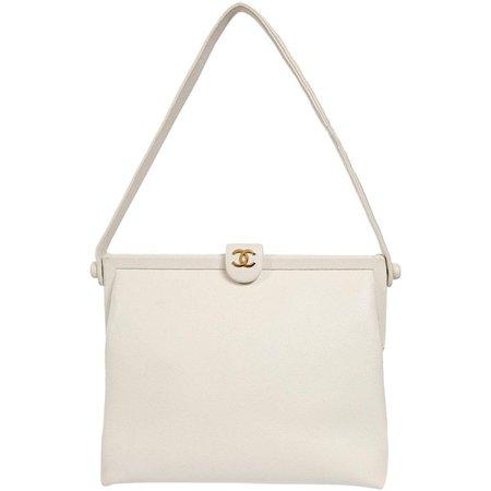 Chanel White Caviar Leather Vintage Shoulder Bag