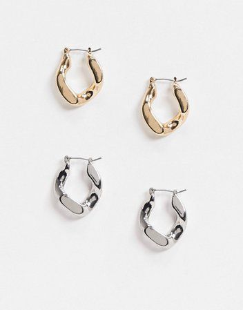 ASOS DESIGN pack of 2 hoop earrings in chain link in gold and silver tone | ASOS