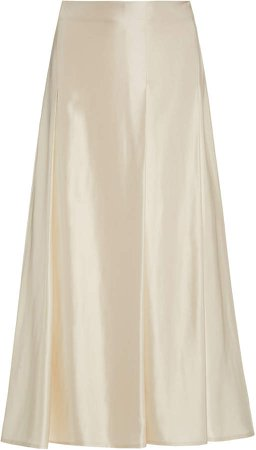 Beaufille Ricci Pleated Satin Midi Skirt