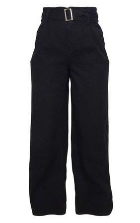 Washed Black Belted Wide Leg Jeans   Denim   PrettyLittleThing