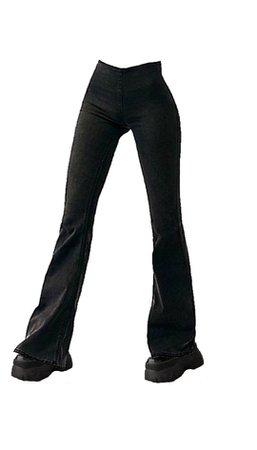 black stretch pants n chunky boots