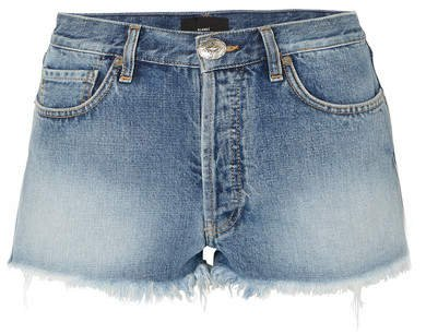Alanui - Embroidered Distressed Denim Shorts - Mid denim