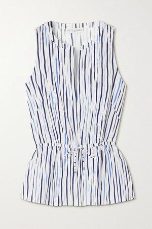 White Glo striped cotton-blend poplin blouse | Altuzarra | NET-A-PORTER
