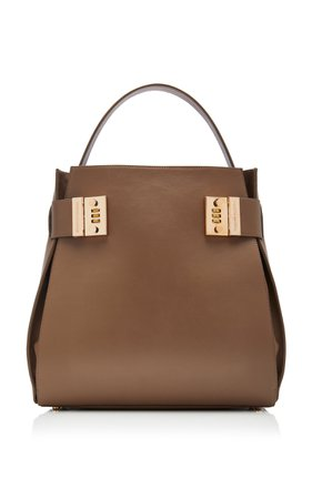 Brandon Maxwell Lock-Detailed Leather Tote Bag