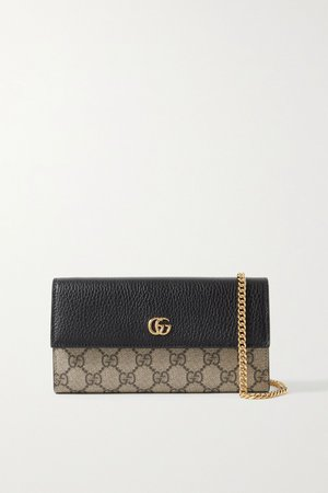 Black + NET SUSTAIN GG Marmont Petite textured-leather and printed coated-canvas shoulder bag | Gucci | NET-A-PORTER