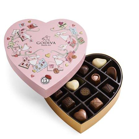 Heart Shaped Chocolate Box, 14 pc.   GODIVA