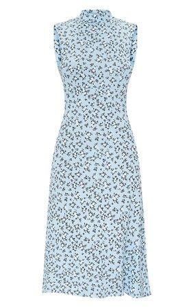 Baby Blue Ditsy Open Back Detail Midi Dress | PrettyLittleThing USA