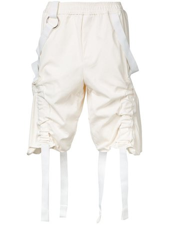 PRIVATE POLICY white cotton harness shorts