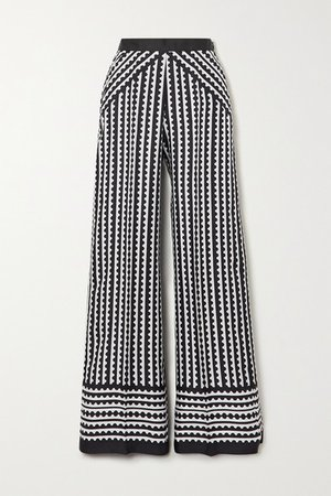Venice Printed Silk Wide-leg Pants - Black