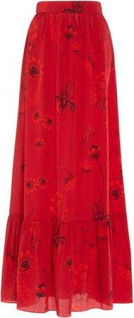 Borgo De Nor Jaqueline Printed Silk-Crepe Maxi Skirt