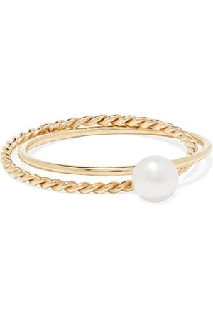 Poppy Finch | Crisscross 14-karat gold pearl ring | NET-A-PORTER.COM