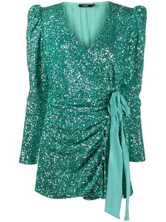 Shop green Amen sequined fitted mini dress with Express Delivery - Farfetch