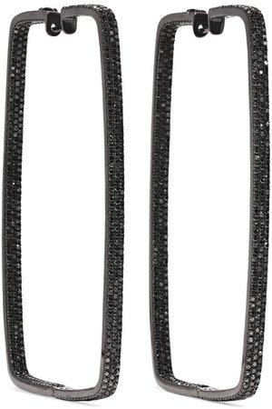 OFIRA | Box 18-karat blackened white gold diamond hoop earrings | NET-A-PORTER.COM