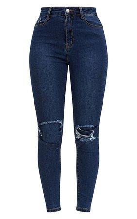 Open Knee Rip Dark Wash High Waisted Skinny Jean | PrettyLittleThing