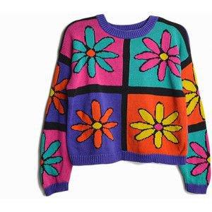 Vintage 90s Flower Blossom Sweater Multi-color Sweater women's medium