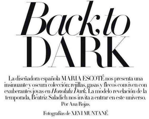 back to dark