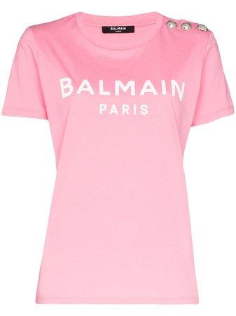 Balmain logo-print Cotton T-shirt - Farfetch
