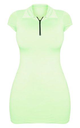 Shape Neon Lime Slinky Zip Detail Short Sleeve Bodycon Dress - Shape Dresses - PLT Shape - Shop By.. | PrettyLittleThing USA