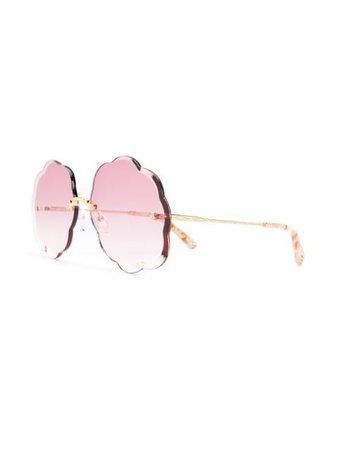 Chloé Eyewear Scalloped Sunglasses CE156S Pink | Farfetch