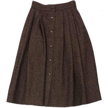 brown wool tweed skirt