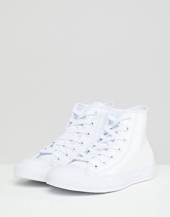 Converse Chuck Taylor All Star Hi leather sneakers in white mono   ASOS