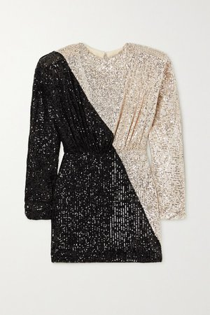 Billie Two-tone Sequined Stretch-knit Mini Dress - Silver