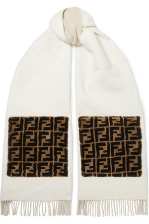 Fendi | Printed shearling-trimmed fringed wool and cashmere-blend scarf | NET-A-PORTER.COM