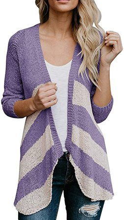 Hestenve Womens Striped Lightweight Cardigans Long Sleeve Open Front Mid Cardigan Sweaters at Amazon Women's Clothing store