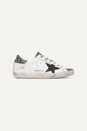 Golden Goose | Superstar distressed glittered leopard-print leather sneakers | NET-A-PORTER.COM