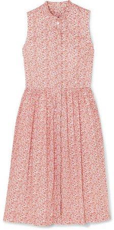 Robin Ruffled Floral-print Cotton-poplin Dress - Red