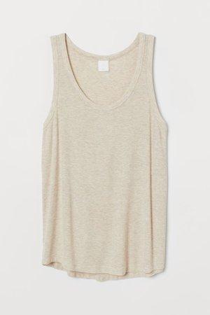 Ribbed Tank Top - Light beige melange - Ladies | H&M US
