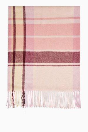 Pink Check Lightweight Scarf | Topshop