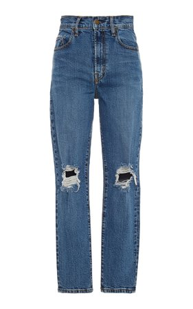 Bessette Distressed High-Rise Slim-Leg Jeans by Nobody Denim | Moda Operandi