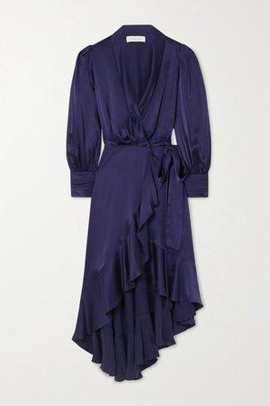 Asymmetric Ruffled Silk-satin Wrap Midi Dress - Navy