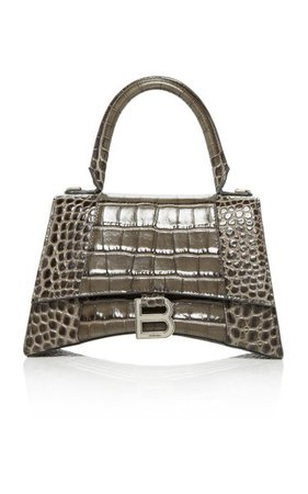 Hourglass Embellished Croc-Effect Leather Top Handle Bag By Balenciaga | Moda Operandi
