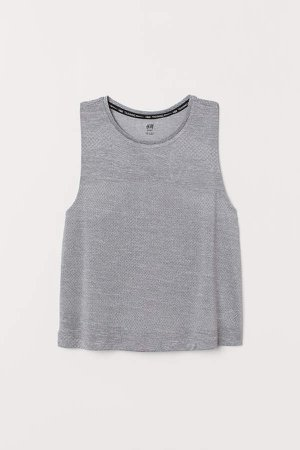 Textured Sports Tank Top - Gray