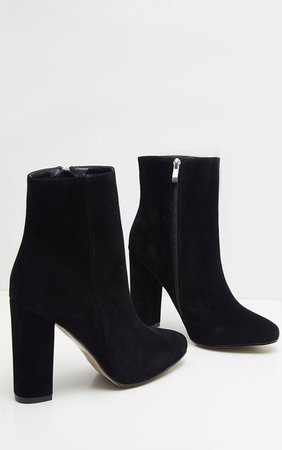 Behati Black Faux Suede Ankle Boots | Jumpers | PrettyLittleThing USA