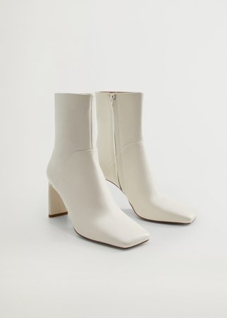 Squared toe leather ankle boots - Women | Mango USA