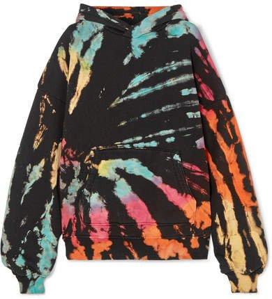 Oversized Tie-dye Cotton-jersey Hoodie - Black