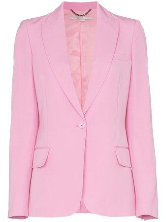 Shop pink Stella McCartney single-breasted peak lapel wool blazer with Express Delivery - Farfetch