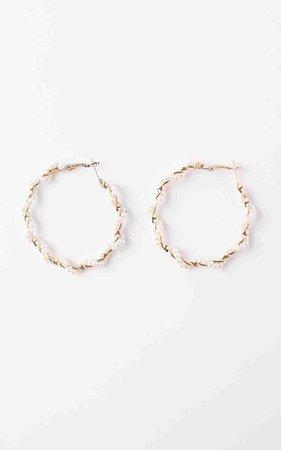 Bigger Plan Hoop Earrings in Gold and Pearl | Showpo
