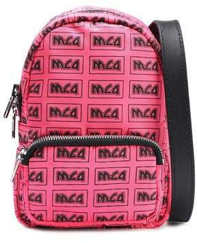 Leather-trimmed Logo-print Shell Backpack