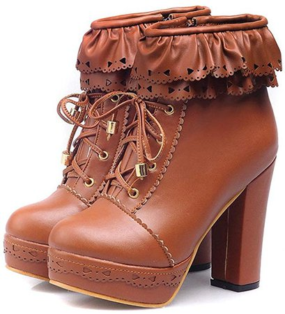 Amazon.com   Mostrin Women's Lace Up Platform High Heel Ankle Boots Sweet Lolita Shoes PU Leather Ruffle Booties   Ankle & Bootie