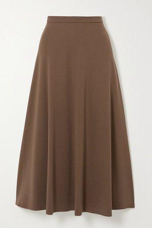 Stretch-knit Midi Skirt - Brown