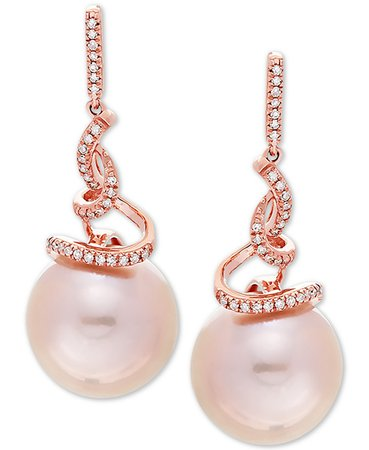 Honora 14k Rose Gold Pink Cultured Ming Pearl & Diamond Drop Earrings