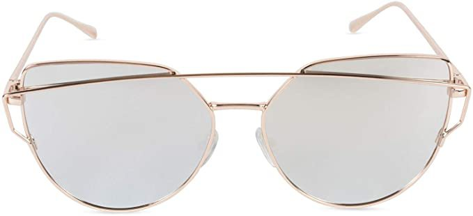 Amazon.com: Tickled Pink Cat Eye Mirrored Sunglasses Polarized Cateye, Silver Frame/Silver Lens, One Size Fits Most: Clothing